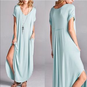 CHARLIZE solid boho dress - MINT